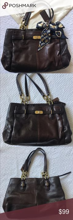 Coach Jayden Leather bag-chain handles & scarf Preloved brown leather Coach bag with coach silk scarf included!  The handles have gold chain hardware.  Some staining to the lining as pictured.  Comes in original Coach dustbag.  Please note:  I do not ship on weekends. Coach Bags Shoulder Bags