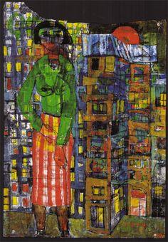 Friedensreich-Hundertwasser-Paintings-1950-madchen-vor-hohen-hausern-mit-sonne