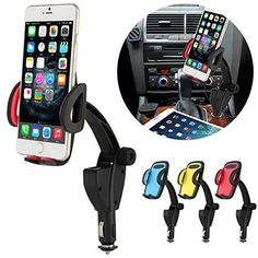 Rotating Car Mount Charger Phone Holder Oenbopo 2in1 Universal Cell Phone Dual USB Car Cigarette Lighter Charger Mount Stand Holder For iPhone Samsung HTC LG and GPS Red >>> Continue to the product at the image link. Note: It's an affiliate link to Amazon.