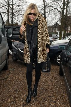 Kate Moss in Leopard Coat and Boots