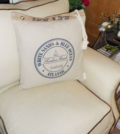 NAUTICAL CUSHION COMPLEATE WITH INNER TYPOGRAPHY NAUTICAL DESIGN AND ROPE DETAIL £14.99