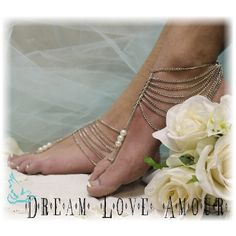 silver barefoot sandals, foot jewelry, footless, beach, wedding, brida... via Polyvore