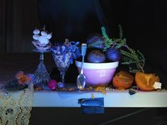 Fiona Pardington Still Life with Pink Crown Lynn Bowl, Silver Teaspoon and Passionfruit, from the Colin McCahon Residency, 2013 Inkjet print on Epson Hot Press cotton rag Dimensions variable Edition of 10 _______ Photography 2017, Artistic Photography, Photography Ideas, Still Life Artists, New Zealand Art, Pink Crown, Master Of Fine Arts, Artists And Models, Still Life Photographers