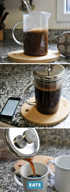 In our low-and-slow French press, you're not adding more water in as you go, so the energy driving diffusion is decreased, resulting in slower, more gradual brewing.