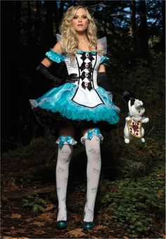 Plus Size XL Alice In Wonderland Costume Maid Fantasia Fairy Tale Cosplay Halloween Costumes For Women Adult Dress
