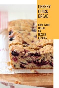 A recipe for Cherry Quick Bread can be made in a loaf pan or in muffins tins. Baking with frozen cherries makes this an easy recipe for any time of year. Cherry Recipes, Fruit Recipes, Sweet Recipes, Dessert Recipes, Bread Recipes, Baking Recipes, Healthy Recipes, Raspberry Bread, Strawberry Bread