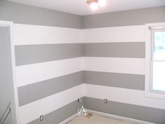 DIY: How to paint perfect wall stripes. Navy blue accent wall behind light crib Boys Bedroom Colors, Bedroom Paint Colors, Wall Colors, Girls Bedroom, Bedroom Wallpaper Accent Wall, Accent Walls, Baby Room Diy, Trendy Bedroom, Bedroom Simple