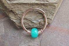 16g 18g or 20 Gauge Rose Gold Beaded Teal Nose Hoop Ring or Cartilage Hoop Earring