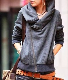 Diagonal zip big collar dark grey jacket