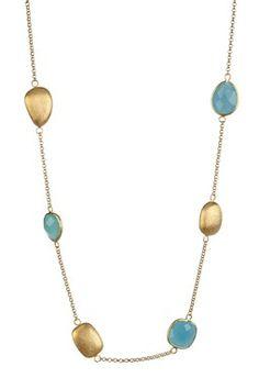 18K Gold Clad Caribbean Blue Quartzite Station Necklace