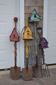 Birdhouse Shovels by Hickory Lane Crafts N. Canada Birdhouse Shovels by Hickory Lane Crafts N. Canada Birdhouse Shovels by Hickory Lane Crafts N. Canada Birdhouse Shovels by Hickory Lane Crafts N. Garden Yard Ideas, Garden Crafts, Garden Projects, Wood Projects, Garden Tools, Bird Houses Painted, Bird Houses Diy, Homemade Bird Houses, Bird House Feeder