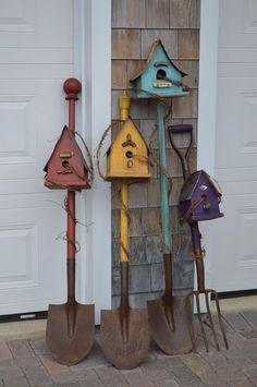 Birdhouse Shovels by Hickory Lane Crafts N. Canada Birdhouse Shovels by Hickory Lane Crafts N. Canada Birdhouse Shovels by Hickory Lane Crafts N. Canada Birdhouse Shovels by Hickory Lane Crafts N. Garden Yard Ideas, Garden Crafts, Garden Projects, Garden Tools, Bird Houses Painted, Bird Houses Diy, Homemade Bird Houses, Bird House Feeder, Bird Feeders