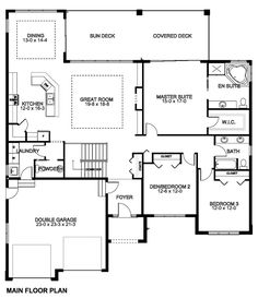 First Floor Plan of Mediterranean Ranch House Plan 96216 - really like the basement space.*Needs so much kitchen help, but is promising elsewhere. First Floor Plan of Mediterranean Ranch House Plan Floor Plan of Mediterranean Ranch House P House Layout Plans, Dream House Plans, House Layouts, Small House Plans, House Floor Plans, Ranch Floor Plans, Simple Ranch House Plans, Simple Floor Plans, Bungalow House Plans