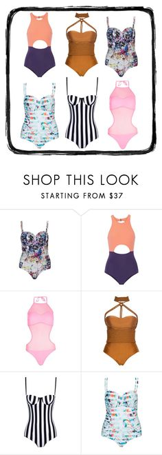 """One-Pieces Are Rad"" by sillysallysseashells ❤ liked on Polyvore featuring Robyn Lawley, Flagpole, Boohoo, Lenny and Dolce&Gabbana"