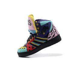 3b175e30ab89 JS Men s adidas Originals Jeremy Scott Instinct Hi Shoes - Black Sharp  Purple Unique Shoes