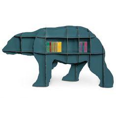 Ibride Bear Bookcase Junior – blue designer wildlife bookshelf