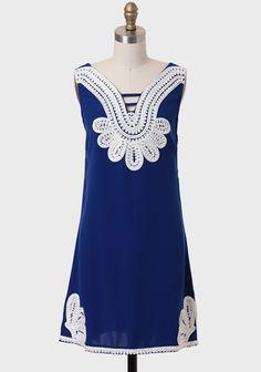French Riviera Embellished Shift Dress