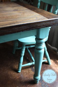 "Lumley Belle Designs Handmade Solid Oak Table Top with refinished, antiqued table legs and chairs. Table: 36"" W X 63"" L X 30"" H"