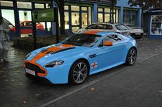 Aston Martin V12 Vantage with Gulf racing colors.