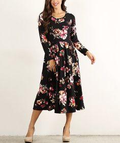 5a51a2a5205 Black Floral Midi Dress - Women