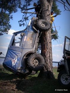 Jeep, so good you can drive it up a tree! Lol