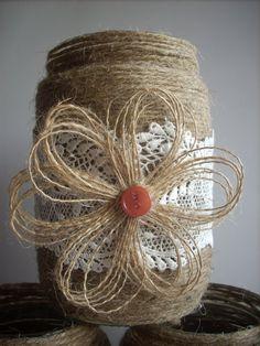 Rústico frasco tarro de arpillera boda por foryourrusticwedding