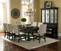 We are loving this beautiful and classical dining room set and the nailhead trim looks perfect!