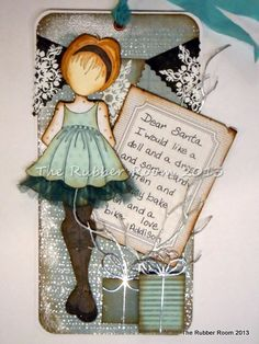 Julie Nutting Prima Doll done with Authentique Christmas papers and Memory Box dies. Paper Doll Craft, Prima Paper Dolls, Prima Doll Stamps, Doll Crafts, Card Tags, Gift Tags, Christmas Paper, Christmas Cards, Tag Craft