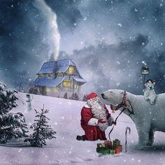 Il fait très froid au Pole Nord ! Heureusement je suis bien entouré ! #Noel #PereNoel