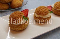 пирожные шу с кремом дипломат и клубничным мармеладом