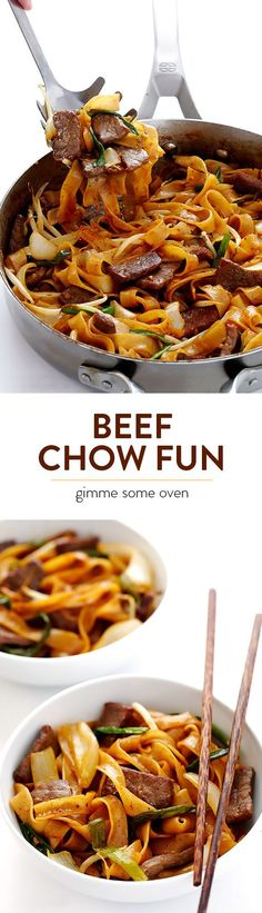 Beef Chow Fun -- this delicious beef and noodles stir fry is tossed with the most delicious sauce, plus it's quick and easy to make! Asian Recipes, Beef Recipes, Cooking Recipes, Healthy Recipes, Ethnic Recipes, Noodle Recipes, Beef Noodle Stir Fry, Beef And Noodles, Rice Noodles