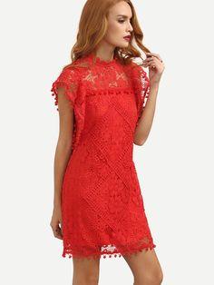 Red+Cap+Sleeve+Pom+Pom+Trim+Hollow+Dress+22.19