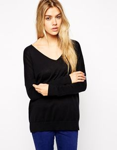 Image 1 of ASOS Fine Sweater With V-Neck