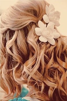 This is the hair style I was talking about, except with one of those silver beaded headbands instead of the flower clips