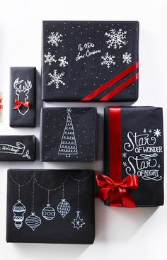 HELLO HOLIDAY GUIDE 2015. DIY chalkboard paper christmas gift wrap ideas. #leonshelloholiday #blackandwhite #modern