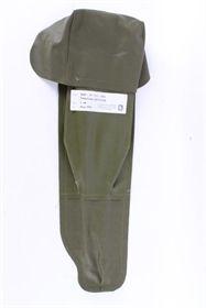 Tilbehørs taske fra dansk militær. Grøn, gummieret nylon med velco-lukning i låg. Antennetaske.
