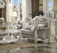 Acme Furniture - Versailles Loveseat with 4 Pillows, Vintage Gray PU & Bone White - 52126A