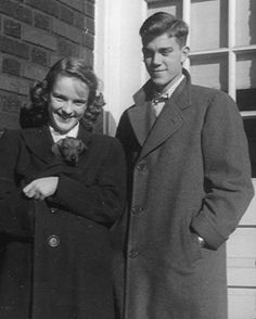 Adele Coryell with unnamed puppy and beau Don    in the mid-1940s.