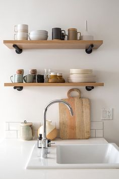 Modern shelving in the kitchen
