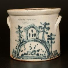"Sold $1,100 Very Rare Half-Gallon Stoneware Crock with Elaborate Cobalt House Scene, Stamped ""WEST TROY / N.Y. / POTTERY,"" circa 1875, cylindrical crock..."
