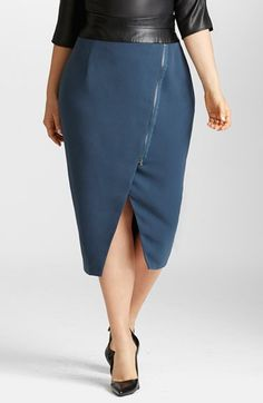 High Waist Moto Skirt (Plus Size)