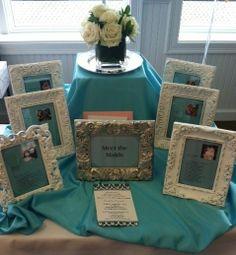"""Meet the Maids"" table at a Bridal Shower ... such a cute idea!"
