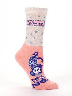 56edae93b Blue Q Women s Crew Socks - Cotton - Patience. Yeah. No.  fashion