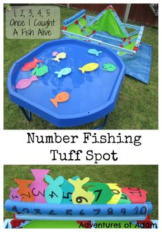 "Number Fishing Tuff Spot It is again and this fortnights Nursery Rhyme is Once I Caught A Fish Alive"". We created a number fishing Tuff Spot. Maths Eyfs, Rhyming Activities, Preschool Activities, Rainbow Fish Activities, Rainbow Fish Eyfs, Nursery Rhyme Activities, Water Play Activities, Number Activities, Water Games"