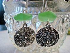 Sea Green Sand Dollar earrings Sea Glass by MicheladasMusings, $13.50