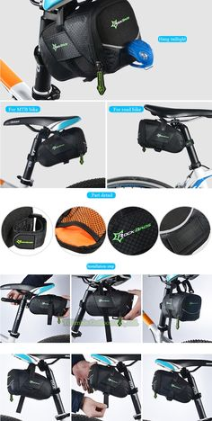 Rockbros Mountain Road Bicycle Saddle Bag Large Stuff Space Tool Bag Seat Bag Reflective Design Seatpost Bike Bag Quick Install | #BAGS #BIKEACCESSORIES