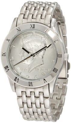 Men  Watches - August Steiner Mens CN004SAS Round Kennedy Half Dollar Silvertone Bracelet Watch *** Check this awesome product by going to the link at the image. (This is an Amazon affiliate link)