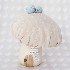 Wee Lovebirds on Mushroom- Woodland Wedding Cake Topper