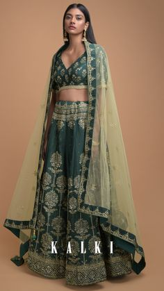 Hunter green lehenga choli in silk with foil printed tree motifs in repeat pattern. Adorned with sequins, beads and cut dana work. Sharara, Lehenga Choli, Saree, Green Lehenga, Yellow Fabric, Hunter Green, Indian Wear, Traditional Outfits, Messy Bun