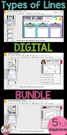 Types of Lines | 4th grade geometry | Google Classroom ideas for Elementary | This paperless bundle includes 5 resources to teach and assess student understanding of CCSS 4.GA.2 types of lines.  Includes embedded instructional video.